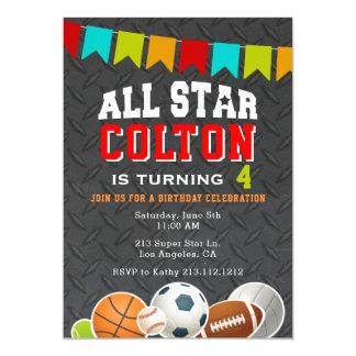 Convite de aniversário dos esportes dos meninos de