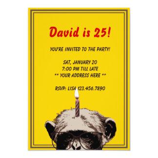 Convite de aniversário engraçado do chimpanzé & da