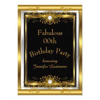 Convite de aniversário fabuloso do preto do ouro