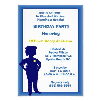 Convite de aniversário fêmea do agente da polícia