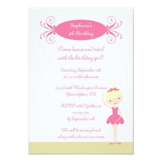 Convite de aniversário louro bonito da bailarina