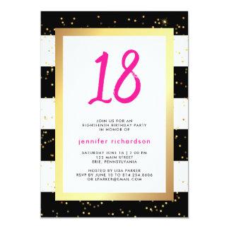 Convite de aniversário moderno dos confetes | 18o