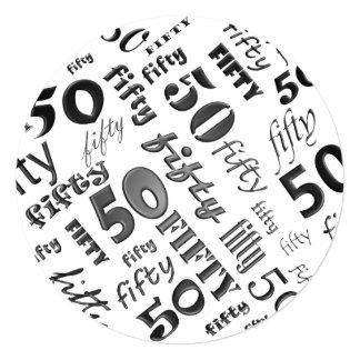 Convite de aniversário preto & do branco 50th