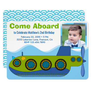 Convite de aniversário submarino bonito da foto do