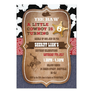Convite de aniversário temático do vaqueiro
