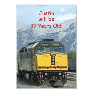 Convite de aniversário, trem frente e verso,