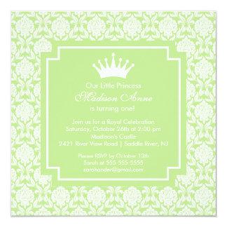 Convite de aniversário verde da princesa Coroa