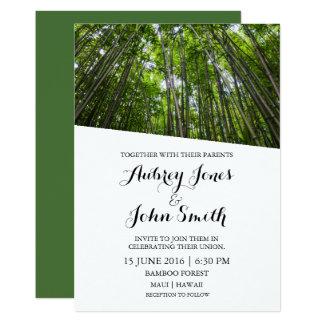 Convite de bambu do casamento da floresta de Maui