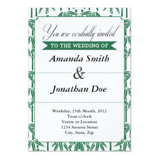 Convite de bambu verde do casamento