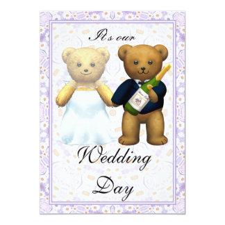 , Convite de casamento alto dos ursos de ursinho -