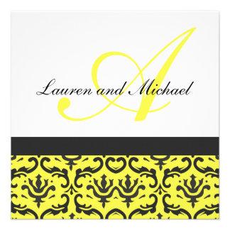 Convite de casamento amarelo preto do monograma do