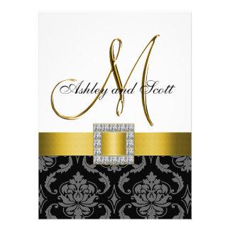 Convite de casamento cinzento preto amarelo da ini