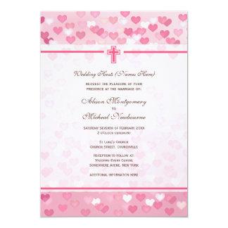 Convite de casamento cor-de-rosa da igreja cristã