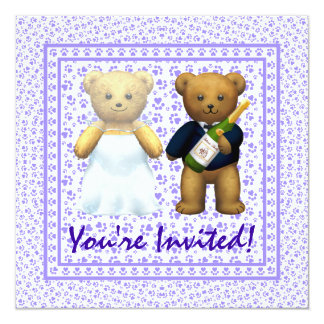 , Convite de casamento do lilac dos ursos de