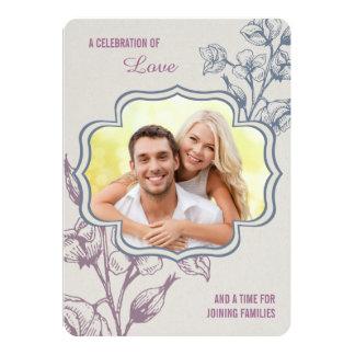 Convite de casamento floral com foto & flores
