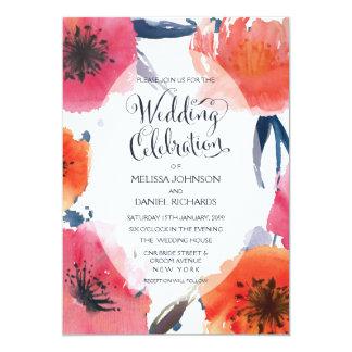 Convite de casamento floral da aguarela do marinho