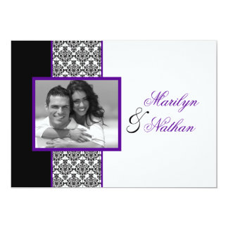 Convite de casamento roxo branco preto da foto do