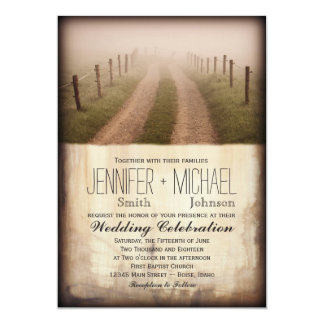 Convite de casamento rústico do cargo da cerca da