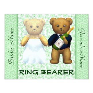 Convite de casamento verde-maçã dos ursos de