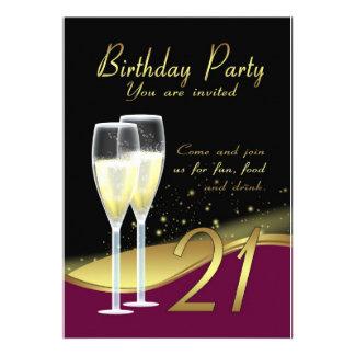 Convite de festas à moda do aniversário de 21 anos