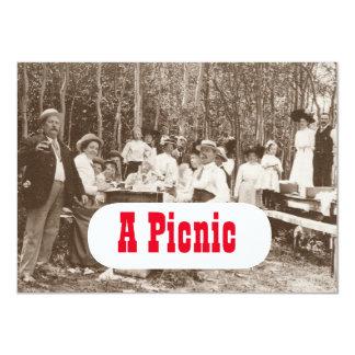 Convite de festas antiquado do piquenique do
