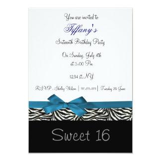 convite de festas chique azul do doce dezesseis