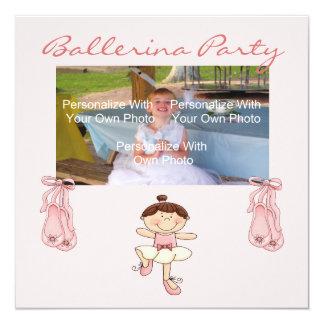Convite de festas cor-de-rosa pequeno da bailarina