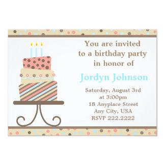 Convite de festas customizável do bolo de