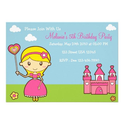 Convite de festas da princesa 5x7