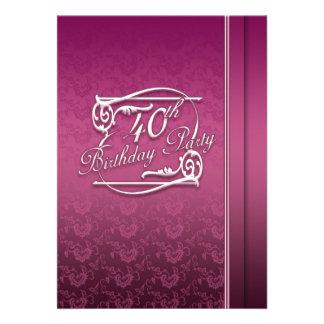 Convite de festas do aniversário de 40 anos modern