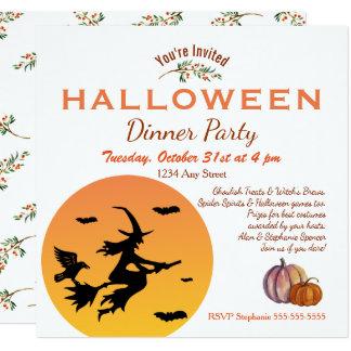 Cartão Convite de festas do comensal do Dia das Bruxas