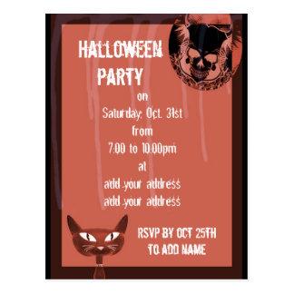 Convite de festas do Dia das Bruxas dos crânios Cartoes Postais