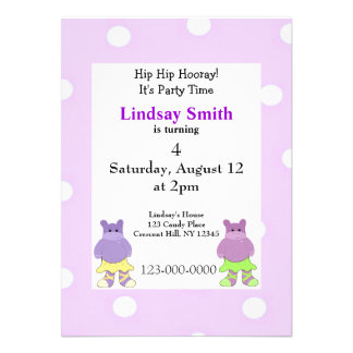 Convite de festas do hipopótamo da bailarina