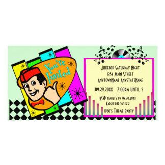 Convite de festas do tema da reminiscência cartão com fotos