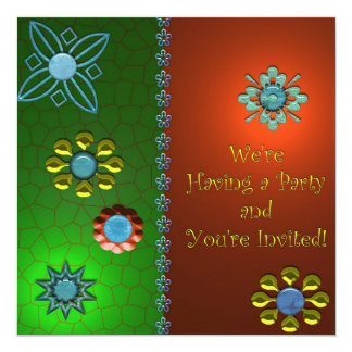 Convite de festas festivo convite quadrado 13.35 x 13.35cm