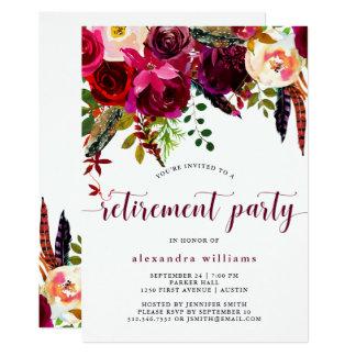 Convite de festas floral da aposentadoria de Boho