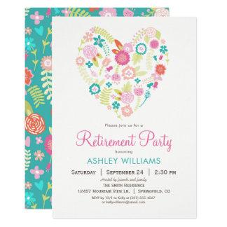 Convite de festas floral da aposentadoria do