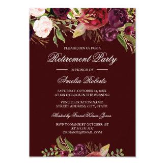 Convite de festas floral vermelho da aposentadoria