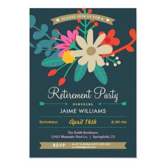 Convite de festas floral vibrante da aposentadoria