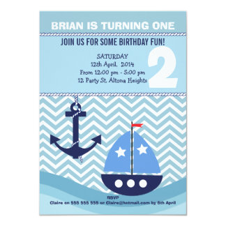 Convite de festas náutico do segundo aniversário convite 11.30 x 15.87cm