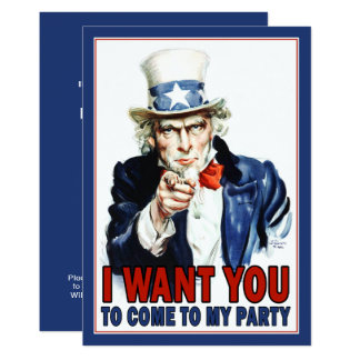Convite de festas patriótico: Tio Sam do vintage