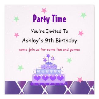 Convite de festas roxo da princesa Endurecimento
