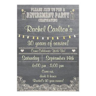 Convite de festas rústico da aposentadoria do