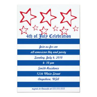 Convite de festas vermelho, branco & azul