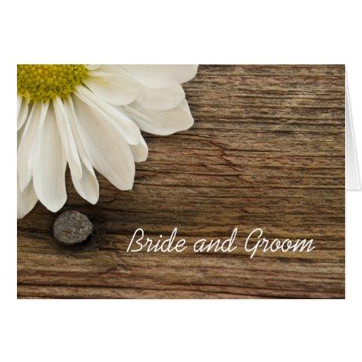 Convite de madeira da margarida e do casamento do  cartao