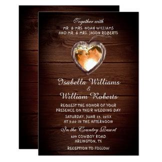 Convite de madeira rústico da foto do casamento do