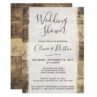 Convite de madeira rústico do chá de casamento do