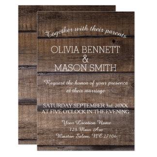 Convite de madeira rústico elegante do casamento