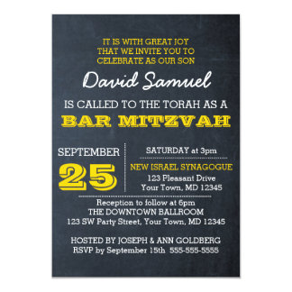 Convite de Mitzvah do bar de ouro do quadro