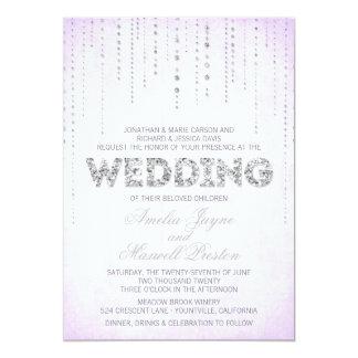 Convite de prata do casamento do olhar do brilho convite 12.7 x 17.78cm